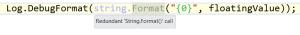 resharper redundant call to string.Format
