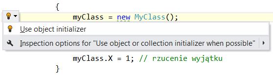 Use object initializer