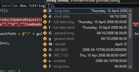 C# DateTime formats