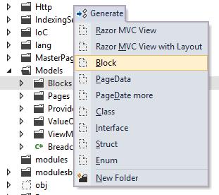 Resharper context menu add block