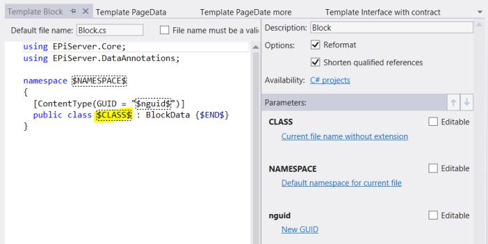 resharper edit file template