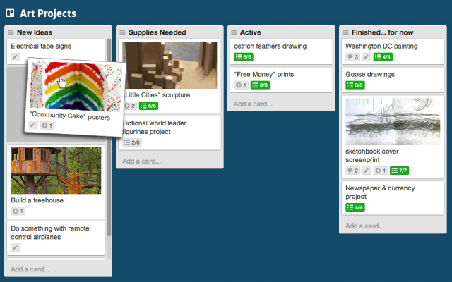 Trello Dashboad with pictures
