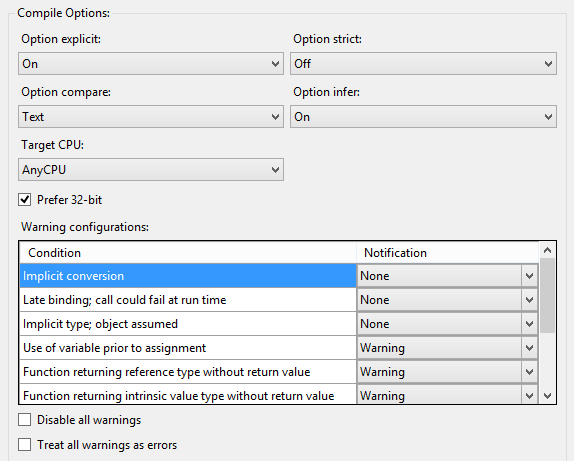 Visual Basic dot NET project settings