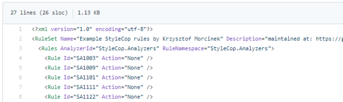 example stylecop ruleset