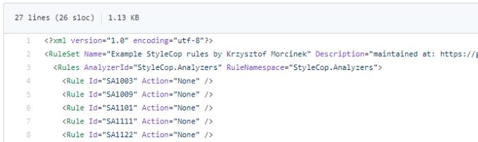 example stylecop ruleset
