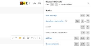 slack keyboard shortcuts